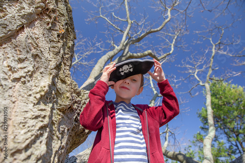 Photo boy in a pirate hat playing in a tree