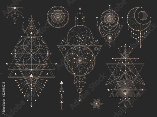 Foto  Vector set of Sacred geometric symbols with moon, eye, arrows, dreamcatcher and figures on black background