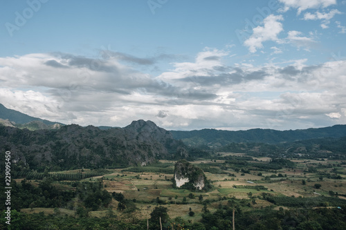 The landscape of the Phu Lanka mountain and Pha Chang Noi in Payao Province, North of Thailand