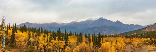 Alaska mountains landscape nature background in autumn fall season Wallpaper Mural