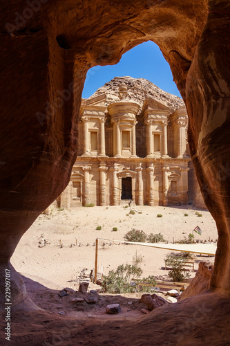 Valokuva Stunning view from a cave of the Ad Deir - Monastery in the ancient city of Petra, Jordan, Incredible UNESCO World Heritage Site