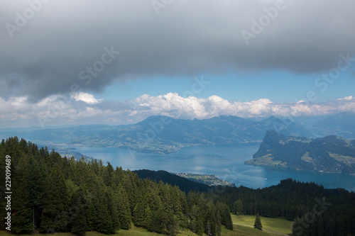 View on lake Lucerne and mountains scenes, Lucerne, Switzerland, Europe. Summer landscape, sunshine weather, dramatic blue sky and sunny day