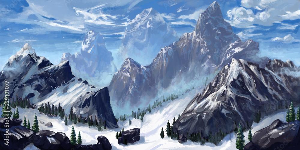 Fototapeta Mountain. Realistic Style. Video Game's Digital CG Artwork, Concept Illustration, Realistic Cartoon Style Scene Design