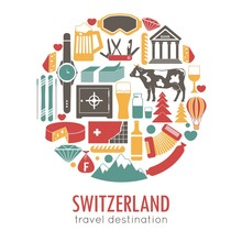 Switzerland Sightseeing Landmarks And Famous Vector Travel Attractions Poster.
