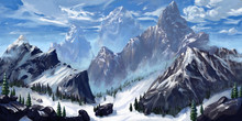 Mountain. Realistic Style. Video Game's Digital CG Artwork, Concept Illustration, Realistic Cartoon Style Scene Design