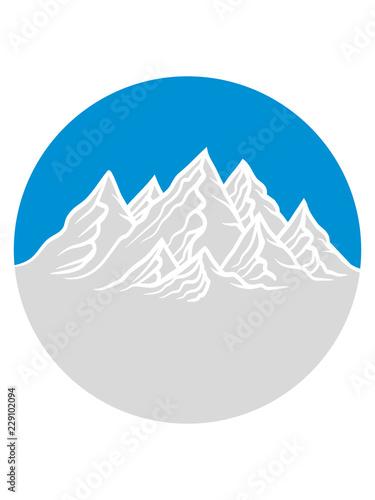 Ferien Rund Kreis Logo Berge Hügel Alpen Wandern Urlaug Radtour Hoch