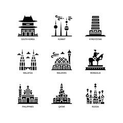 Fototapeta Asian cities and counties landmarks icons set 4