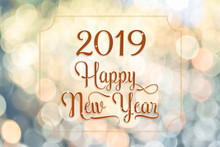 Happy New Year 2018 Red Sparkling Glitter Word With Golden Frame At Abstract Blurred Bokeh Light Background, Holiday Concept