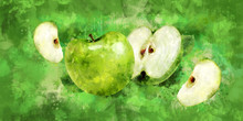 Green Apple On Green Background. Watercolor Illustration