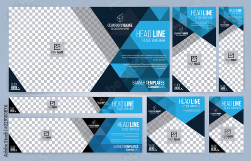 Blue and Black Web banners templates, standard sizes with space for photo, moder Wallpaper Mural