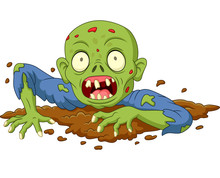 Cartoon Zombie Out Of The Grou...