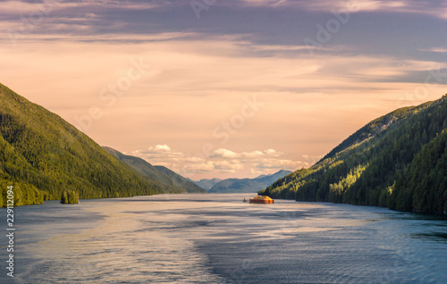 Pacific coast tugboat pulling barge, Principe Channel, British Columbia, Canada Obraz na płótnie