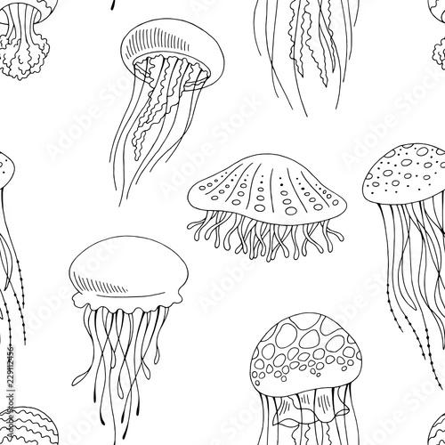 Fotografia Jellyfish graphic black white seamless pattern background sketch illustration ve