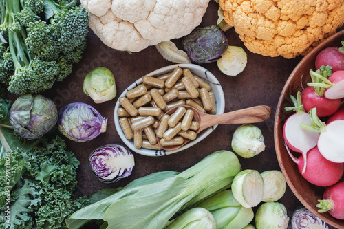 Carta da parati  cruciferous vegetables capsules, dietary supplements for healthy eating