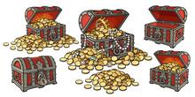 Cartoon Set Of Pirate Treasure...