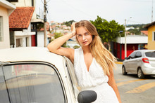 Seriously Gorgeous Car Girl Looking At Camera
