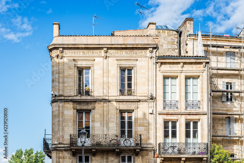 Old residential buildings in Bordeaux in France