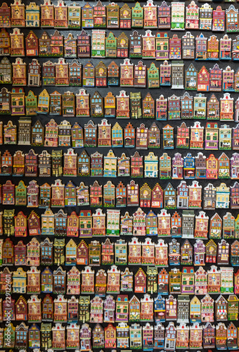 Flower market (Bloemenmarkt), fridge magnets depicting facades of Dutch houses. Amsterdam, Netherlands