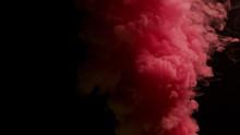Pink Bomb Smoke On Black Background