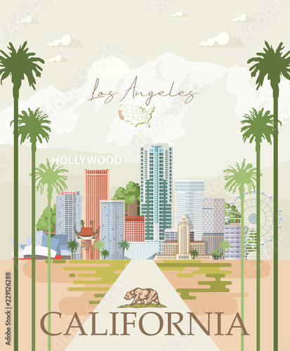 Fototapeta premium Szablon miasta wektor Los Angeles. Plakat Kalifornii w kolorowym stylu płaski.