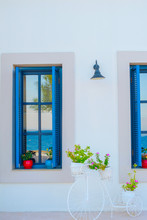 Traditional Greek Blue And White Windows