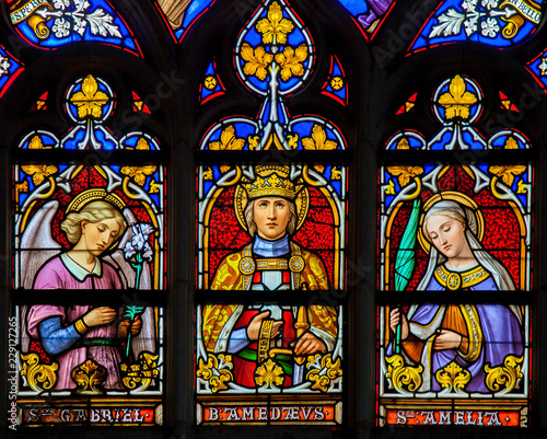 Stained Glass - Saints Gabriel, Amedeus and Amelia Wallpaper Mural