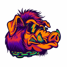 Angry  Boar With Sunglasses Ve...