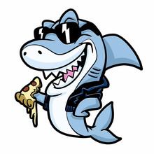 Cool Shark Eating Pizza Vector Illustration