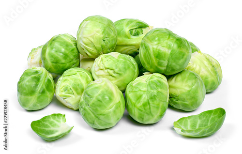 Delicious brussel sprouts, isolated on white background.