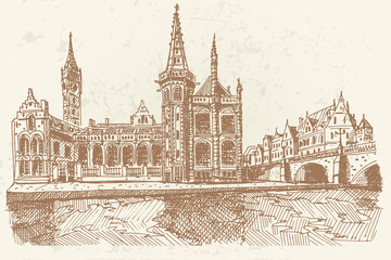 Vector sketch of embankment Graslei and medieval buildings. Former center of the medieval harbor. Ghent, Belgium. Retro style.