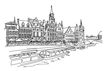 Vector sketch of embankment Graslei and medieval buildings. Former center of the medieval harbor. Ghent, Belgium.
