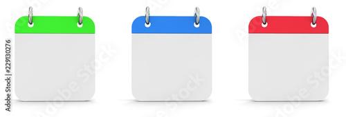 Photo Blank calendars on white background 3d illustration