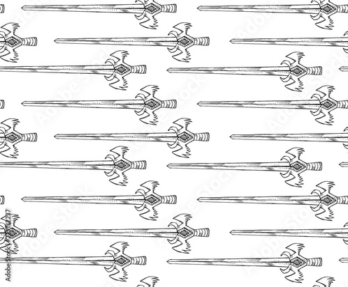 Fototapety, obrazy: Seamless texture with a sword and dagger. Repeating middle ages style pattern. Can be used as wallpaper, desktop, wrapping, fabric or background for your blog, covers, cards.