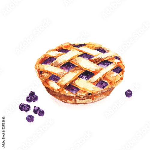 Photo atercolour hand painted illustration of delicious blueberry pie with berries