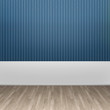 3d illustration interior rendering of blue lined wall and wooden parquet floor