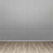 3d illustration interior rendering of gray dotted lined wall and brown wooden parquet floor