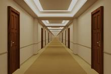 Endless Hotel Corridor With Do...