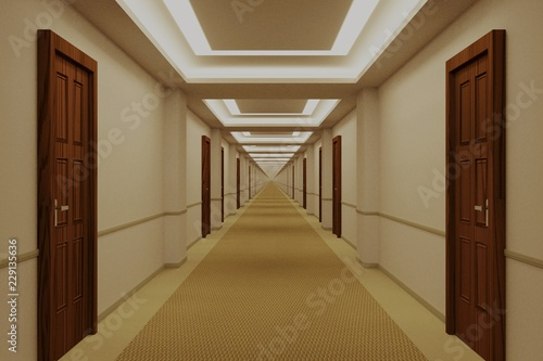 Tablou Canvas Endless hotel corridor with doors