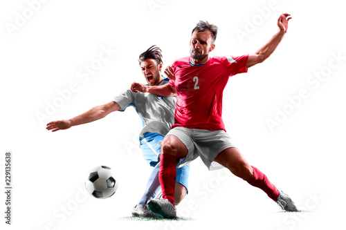caucasian soccer players isolated on white background Wallpaper Mural
