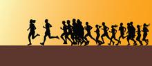 Runner Group Silhouette Vector