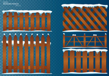 Wooden Fence. Cartoon Wooden Fence With Snow. Christmas Winter Holidays. Vector Illustration. Set, Isolated On Transparent Background. EPS10