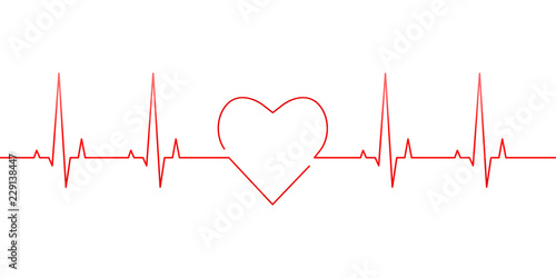 Valokuva  Red heartbeat and heart rate line concept isolated on white background