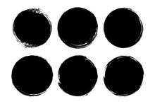 Set Of Circle, Grunge, Black P...