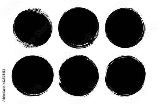 Obraz Set of circle, grunge, black paint, ink, dirty brush strokes. Creative elements for your design. Vector illustration. - fototapety do salonu