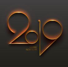 New Year 2019. Greeting Card Design.