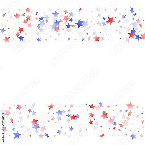 Canvas Prints Countryside Flying red blue white star sparkles on white vector american patriotic background.