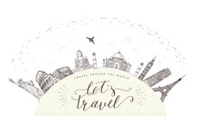 World Travel And Sights. Tourism Banner With Hand Lettering Quote.