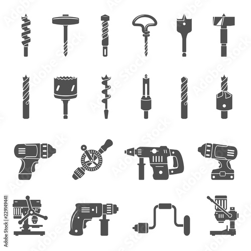 Black Icons - Different types of drills and drill bits