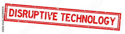 Fotografie, Obraz  Grunge red disruptive technology word square rubber seal stamp on white backgrou