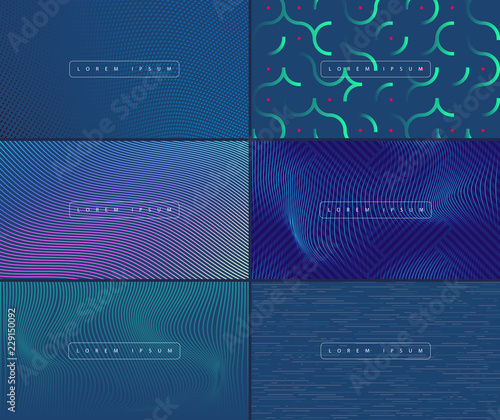 Fotografie, Obraz  Vector geometric background set. Web banner, flyer, cover design